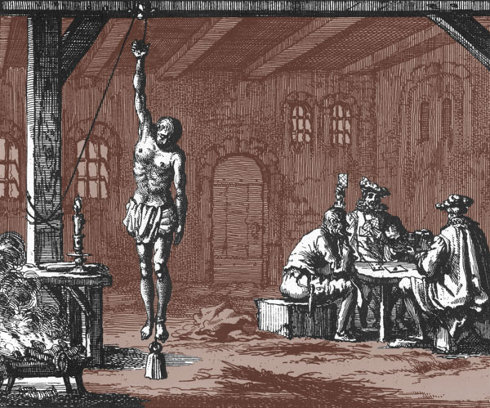 Geleyn Corneliss being tortured while his torturers played cards illustration from Martyrs Mirror modified by Third Way Cafe