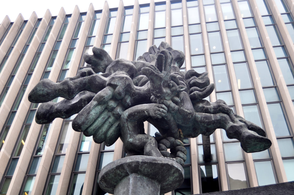 Statue of Bellerophon Taming Pegasus by Jacques Lipschitz. Photo by Tim Nafziger