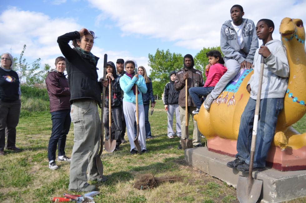 Arbor Day 2012 tree planting in Camden, New Jersey with community members and Word and World participants