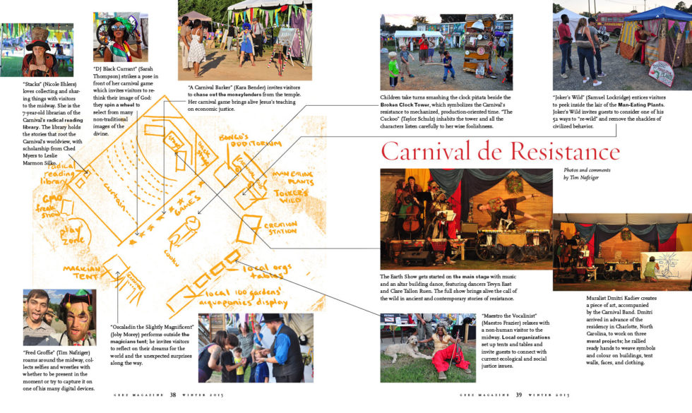 Carnival de Resistance spread in Geez Magazine December 2015